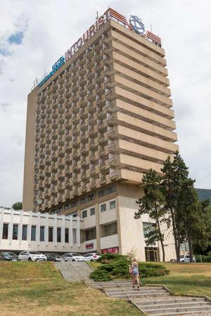 pyatigorsk: PYATIGORSK, RUSSIA - AUGUST 11, 2014: Ladder to the Intourist hotel in Pyatigorsk in the cloudy morning