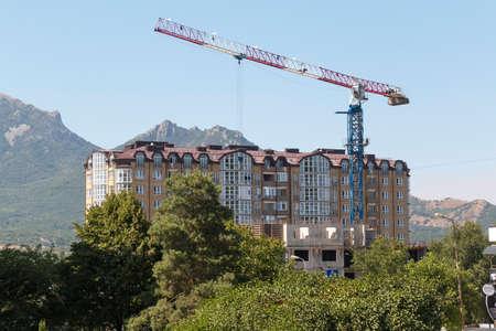 PYATIGORSK, RUSSIA - AUGUST 15, 2014: Construction of a new multistory apartment house on the 295-th Strelkovoi Divizii Street in Pyatigorsk photo