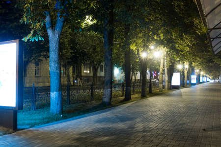 The sidewalk on the prospectus of Kirov (Pyatigorsk, Russia) at five oclock in the morning