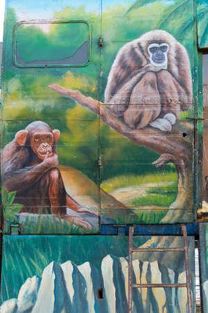 pyatigorsk: PYATIGORSK, RUSSIA - JANUARY 6, 2015: Drawn two monkeys on a mobile trailer Moscow Zoo Safari Editorial