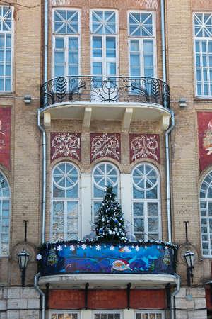 pyatigorsk: PYATIGORSK, RUSSIA - JANUARY 9, 2015: Christmas tree on the balcony Operetta Theatre in Pyatigorsk
