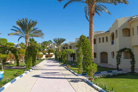 sharm: Sharm el-Sheikh, Egypt - November 30, 2014: Path to the cottages at the hotel Grand Oasis Resort