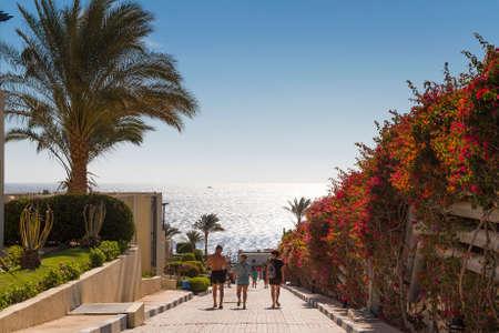 vacationers: SHARM EL-SHEIKH, EGYPT - NOVEMBER 30, 2014: Vacationers on a sunny day go to the beach