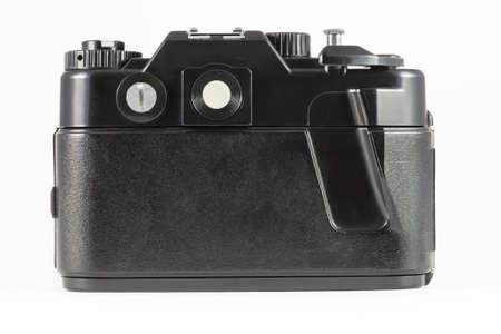Back side of film single-lens reflex camera (SLR) on white Stock Photo