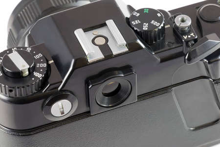 viewfinder vintage: Controls of the old film SLR camera, top view Stock Photo