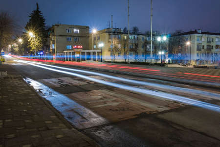 pyatigorsk: Night view Kozlov Street in Pyatigorsk (Russia). Traces of passing cars