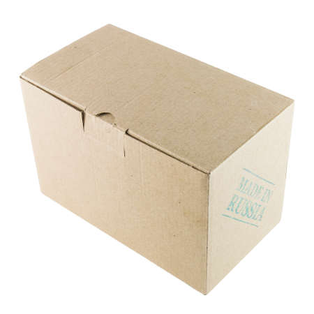 made in russia: Cardboard box stamped MADE IN RUSSIA isolated on white background Stock Photo