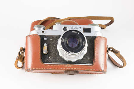rangefinder: Pyatigorsk, Russia - February 21, 2015: FED-3 camera in its case (the Soviet rangefinder camera, 1961)