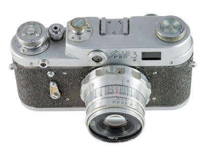 rangefinder: Pyatigorsk, Russia - February 21, 2015: Old camera. FED-3 is a Soviet rangefinder camera, 1961 Stock Photo