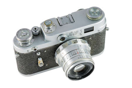 rangefinder: Pyatigorsk, Russia - February 21, 2015: FED-3 - Soviet rangefinder camera with shutter cocking hammerless, 1961 Stock Photo