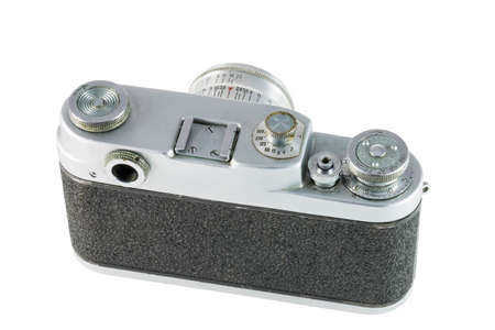 obsolete: Obsolete film camera isolated on white background, back side