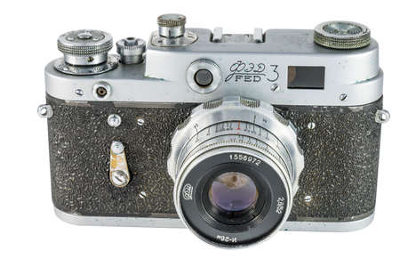 Pyatigorsk, Russia - February 21, 2015: Old film camera FED-3, made in USSR in 1961