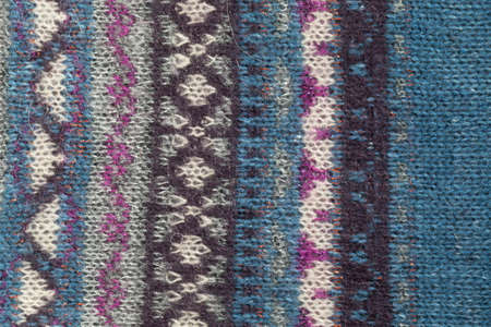 woolen: Multicolored pattern on woolen fabric, background Stock Photo