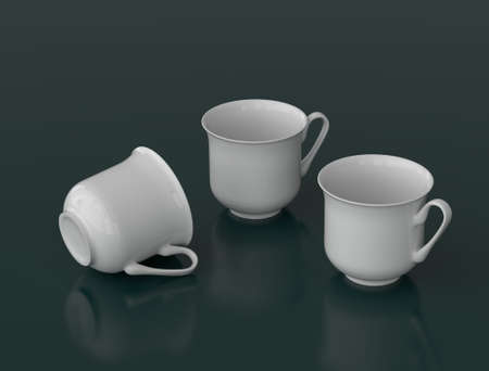 porcelain: Realistic three white porcelain teacups on a dark background