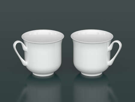 porcelain: Two white porcelain cups on a dark background