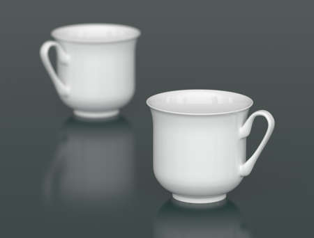 dof: Two white porcelain cups with DOF