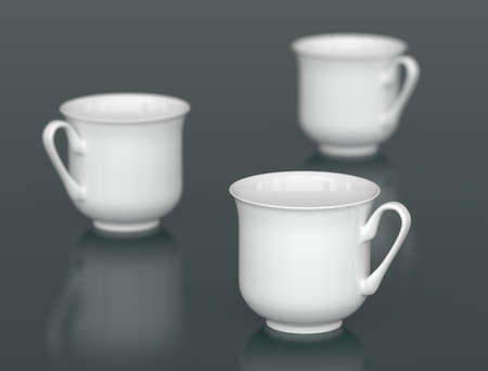 Three white porcelain cups with DOF photo
