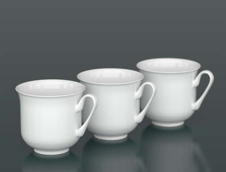 dof: Three white porcelain cups in row with DOF