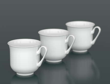 porcelain: Three porcelain cups in row with DOF