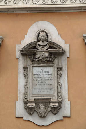 memorial plaque: Rome, Italy - August 16, 2015: Bernini memorial plaque on the wall of a building in Rome in 1898