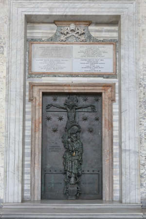 Rome, Italy. The Holy Door of Papal Archbasilica of St. John in the Lateran which is accessible only every 25 years, during Jubilee years. Editorial