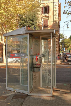payphone: Rome, Italy - August 17, 2015: Payphone TELECOM ITALIA on the street of Rome.