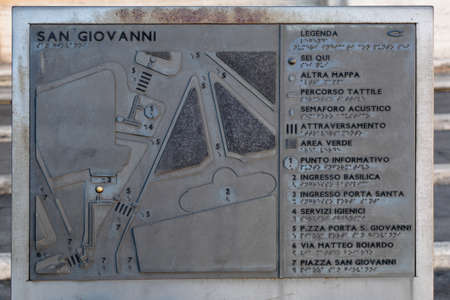 metallic stairs: Metallic plaque with plan near San Giovanni in Laterano Holy Stairs in Rome, Italy