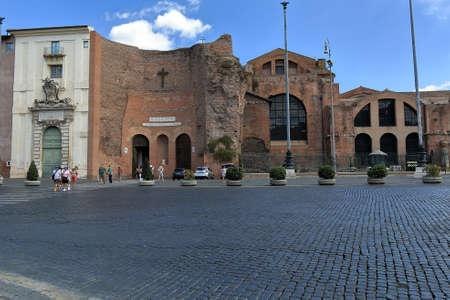 martiri: Rome, Italy - August 17, 2015: People walking near Basilica of Santa Maria degli Angeli e dei Martiri