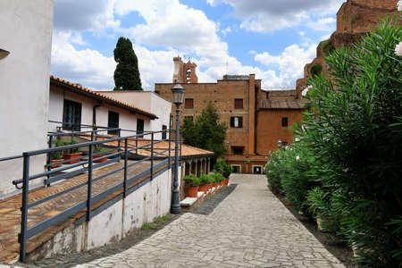 martiri: Rome, Italy - August 17, 2015: View on Wall of Basilica Santa Maria degli Angeli e dei Martiri from Via Cernaia 9 Editorial