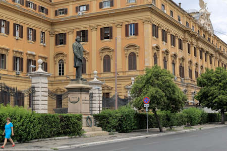 statesman: Rome, Italy - August 17, 2015: Sculpture to Silvio Spaventa. He was Italian journalist, statesman who played a leading role in unification of Italy.