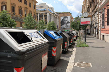 in europe: Rome, Italy - August 17, 2015: Garbage containers at row on the street Via Venti Settembre