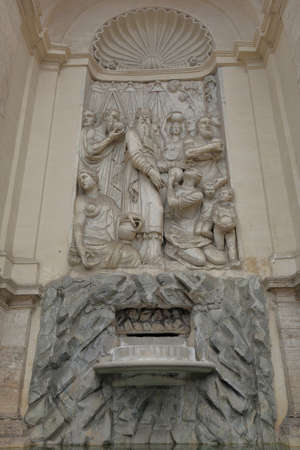 bas relief: Bas relief in Moses Fountain. Rome, Italy