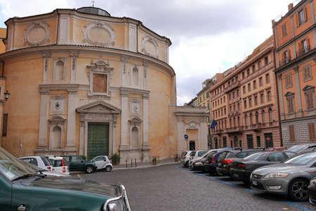 monastic: Rome, Italy - August 17, 2015: Parked cars near the Monastic Church of San Bernardo alle Terme