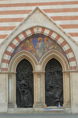 via: Rome, Italy - August 17, 2015: Entrance to Church Chiesa di San Paolo dentro le Mura in Rome, Italy. Crossroads Via Nazionale and Via Napoli Editorial