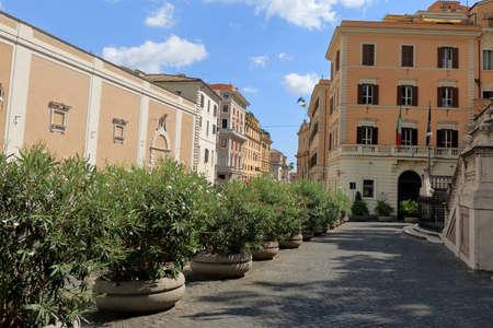 via: Flowerbeds on street Via XXIV Maggio in Rome, Italy