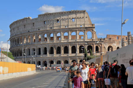 successor: Rome, Italy - August 17, 2015: The tourists near roman Colosseum (also known as Coliseum or as the Flavian Amphitheatre). Construction began under the emperor Vespasian in 72 AD, and was completed in 80 AD under his successor and heir Titus. Editorial