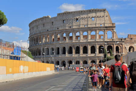 successor: Rome, Italy - August 17, 2015: The tourists go back from Colosseum (also known as Coliseum or as the Flavian Amphitheatre). Construction began under the emperor Vespasian in 72 AD, and was completed in 80 AD under his successor and heir Titus.