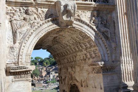 severus: Details of Septimius Severus Arch in Rome, Italy