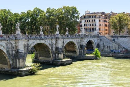 pons: Ponte SantAngelo, once the Aelian Bridge or Pons Aelius in Rome, Italy