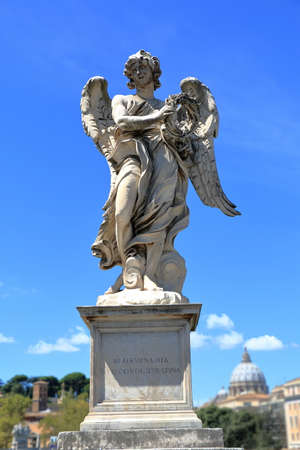brige: Angel with the Crown of Thorns in brige Ponte SantAngelo in Rome, Italy. Sculptor Gian Lorenzo Bernini and son Paolo.