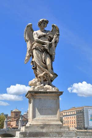 brige: Angel with the Whips in brige Ponte SantAngelo in Rome, Italy. Sculptor Lazzaro Morelli