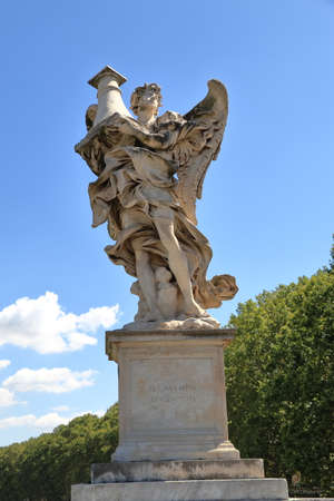 brige: Angel with the Column in brige Ponte SantAngelo in Rome, Italy. Sculptor Antonio Raggi