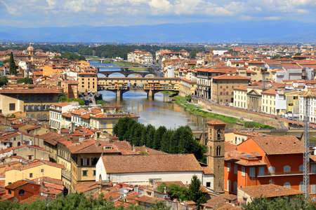 arno: View of a bridges over Arno River from Piazzale Michelangelo in Florence, Italy