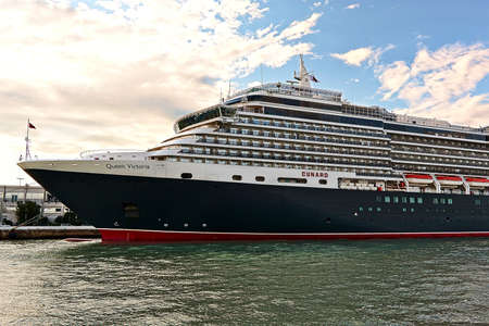 ms: Venice, Italy - August 21, 2015: Cruise Ship MS Queen Victoria in morning light. Ship was built in 2007, owner is Cunard Line Editorial