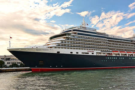 ms: Venice, Italy - August 21, 2015: Cruise Ship MS Queen Victoria built in 2007, Cunard Line in morning light