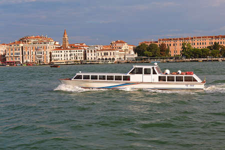 ve: Venice, Italy - August 21, 2015: White motor boat with number VE 8505 in Grand Canal Stock Photo