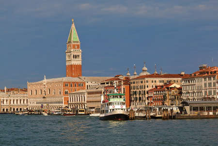 ducale: Venice, Italy - August 21, 2015: View of the Doges Palace Palazzo Ducale and Grand Canal in morning Editorial