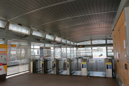 waterbus: Venice, Italy - August 21, 2015: Interior of the waterbus stop San Zaccaria Pieta A. Automatic turnstile and exit to water.