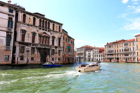 motor boats: Venice, Italy - August 21, 2015: Motor boats in the Grand Canal, Venice. Editorial