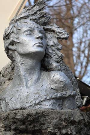 fascist: Pyatigorsk, Russia - December 12, 2015: Monument to Nina Poptsova woman partisan in WWII Editorial